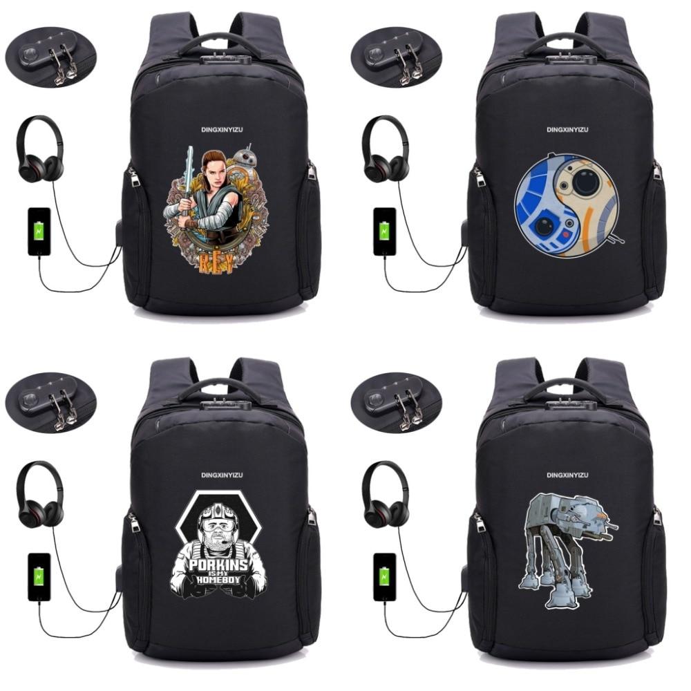 movie Star Wars backpack Anti Theft Usb Charging Laptop Business Unisex Knapsack Shoulder Waterproof Travel Bag 12 style fashion canvas men backpack anti theft with usb charging laptop backpacks business unisex knapsack shoulder women travel bags