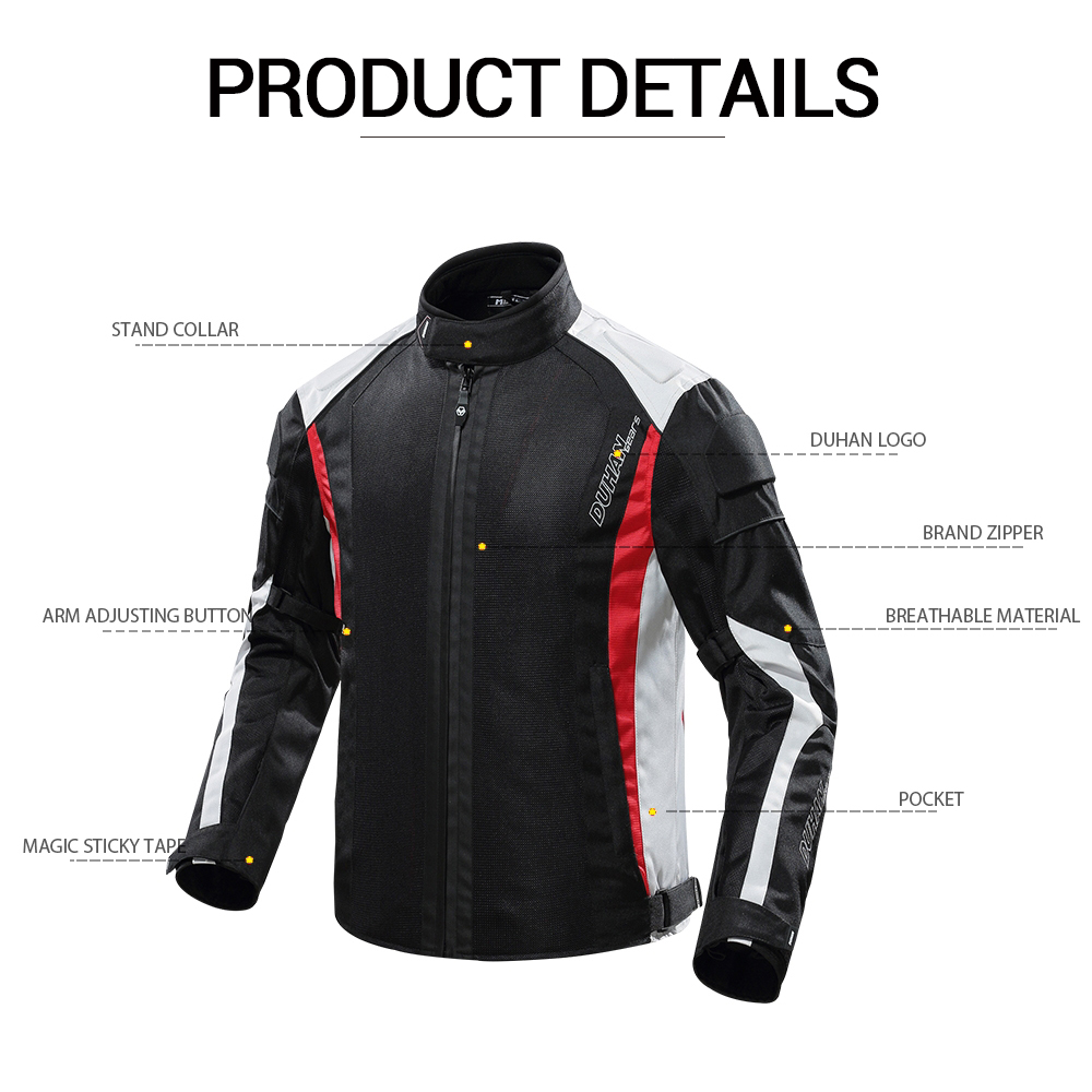 DUHAN 2019 été Moto veste respirant hommes Moto pantalon Moto costume Chaqueta Moto course équitation veste Moto protecteur - 2