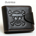 Fashion Brand Genuine Leather Men wallet Anime One Piece Printed Short Male Standard Wallets Purse With 7 Card Bit Hot Sale