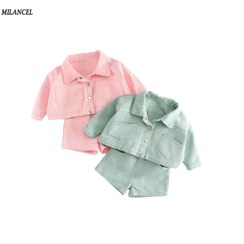 MILANCEL 2018 Girls Clothing Sets New Spring Girls Clothes Cotton Jacket Shorts 2Pcs Kids Clothing Sets For 6 m-3 Years spring new 2017 girls clothing sets
