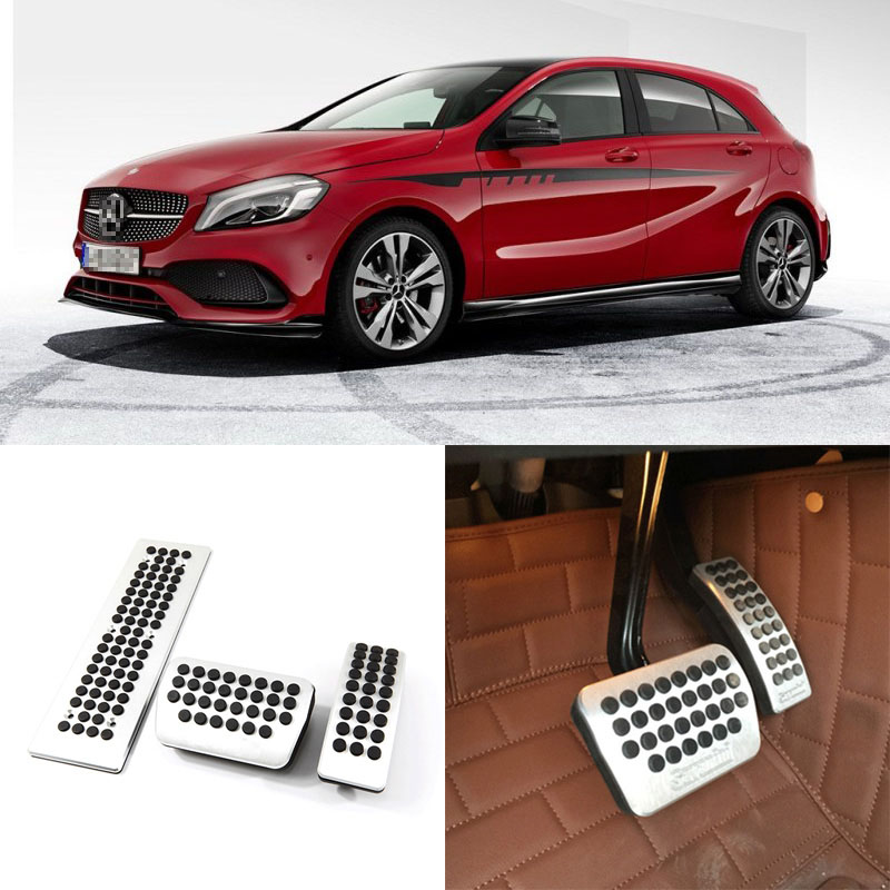 Brand New 3pcs Aluminium Non Slip Foot Rest Fuel Gas Brake Pedal Cover For Benz A-Class AT 2013-2016 brand new 3pcs aluminium non slip foot rest fuel gas brake pedal cover for ford focus at 2008 2017