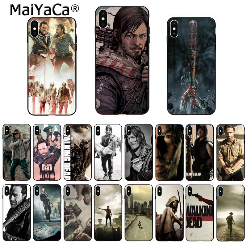 MaiYaCa DIY Painted Beautiful Phone Accessories the walking dead for iPhone 8 7 6 6S Plus 5 5S SE XR X XS MAX Coque Shell