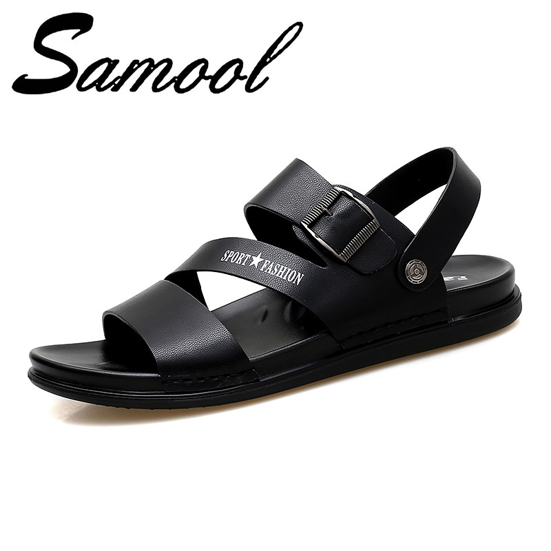 Men Buckle Sandals Summer Split Leather Comfortable Slip-on Casual Sandals Fashion Flat Slipper Zapatillas Hombre Size 38-44 Gx4