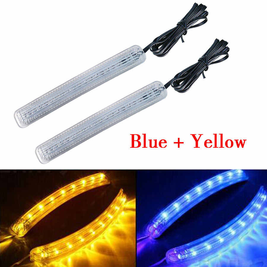 2PCS Soft LED Car Universal Auto Side Door Mirror Lamp Indicator Turn Signals Light 12V Yellow Blue Duel Colors New