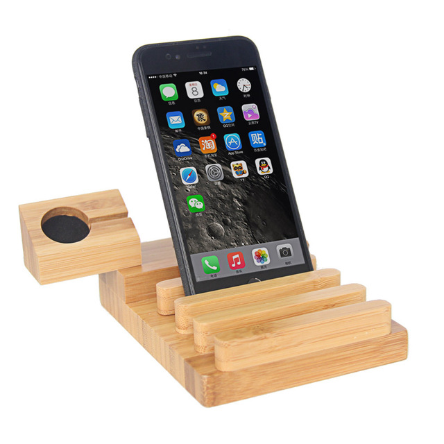 For Apple Watch Stand,Docking Charging Station Organizer with Power Adapter, Desktop Bamboo Wood 3-Port USB Dock Holder Mount