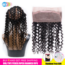 360 Lace Frontal Closure With Baby Hair Brazilian Deep Wave Closure Swiss Hd Lace Free Part Remy Human Hair Bundles BY Hair(China)