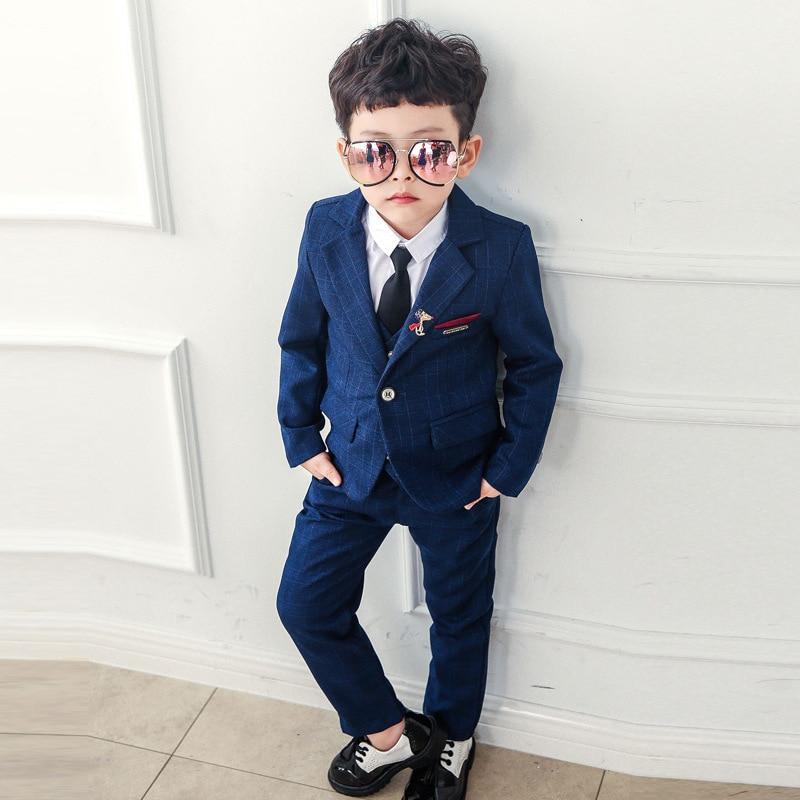 Suit for Boys Tuxedo Boys Suits for Weddings 3pcs/set(Coat+Vest+Pant) Baby Boy Blazer Wedding Baby Suit Gentleman 3-10Y