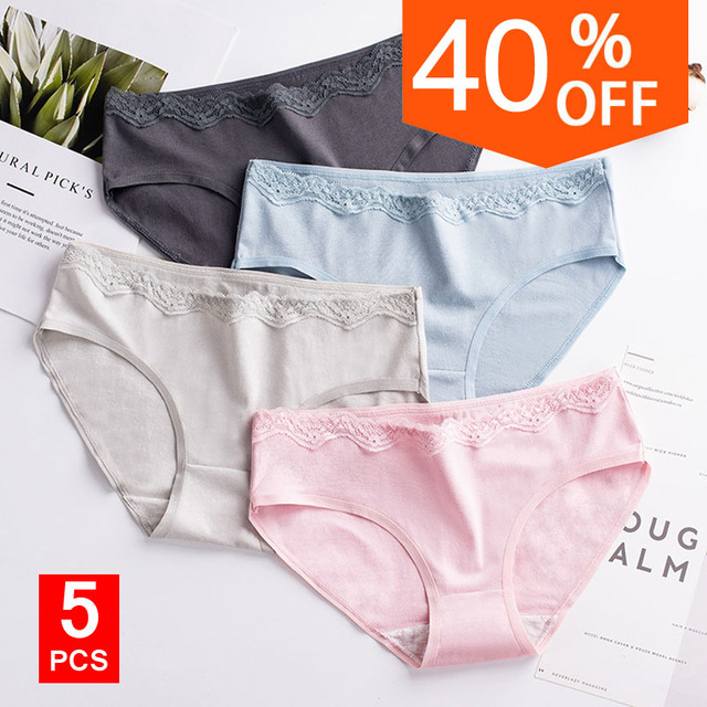5pcs/lot Cotton Women Ladies Panties Underwear Woman Fancy Lace Calcinha Renda Sexy for Lady Traceless Crotch of Briefs Panties