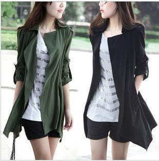 El punto de explosión aliexpress de 2015 nueva primavera de Corea Del abrigo largo delgado mujeres de gran tamaño escudo