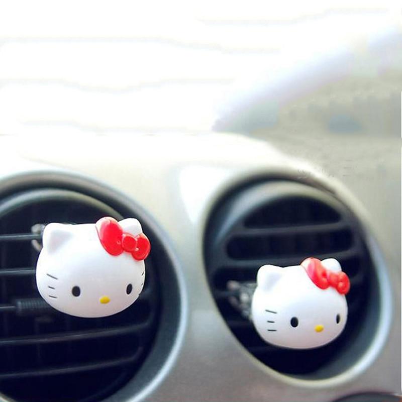 4Pcs Hello Kitty Car Perfumes Incense Cute Cat Coutlet Vent Air Freshener Car Perfume Women Fragrance Men Aromatizador De Carro