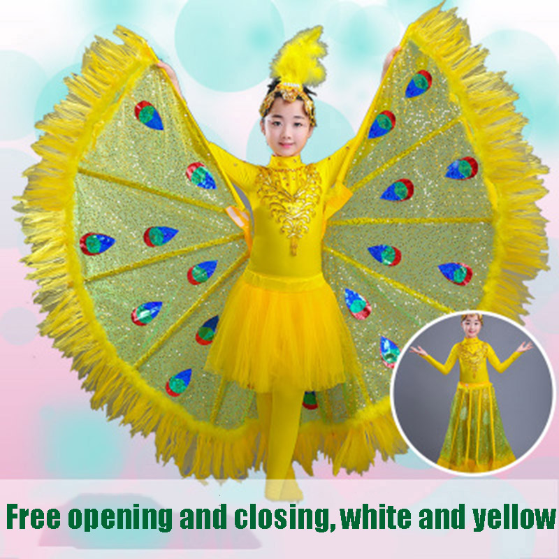 2019 Cute Girls Peacock Dance Dress Children Performance Costumes Girl Dancewear Halloween Party Costumes With Headwear&Tail