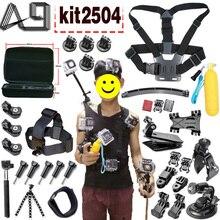 A9 для GoPro аксессуары комплект случае штатив груди ремешок на запястье Крепление Монопод зажим для Go Pro 5 4 3 SJCAM SJ4000 Xiaomi Yi 4 K Камера