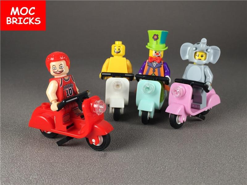 10 Teile/los Moc Ziegel Diy Bunte Roller Mit Stand Und Winkel Lenker Montage Bausteine 15396c01 Spielzeug Kinder Geschenke