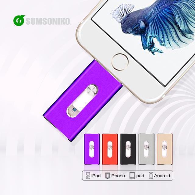 Para iphone6 plus 6 5S usb flash drive hd memoria stick doble propósito iOS Android móvil MicroUSB OTG Pendrive de 32 GB 64 GB