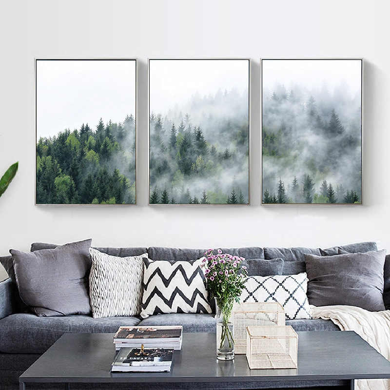 Nordic Forest Landscape Canvas Painting Hanging Picture Home Decoration Kitchen Posters and Prints Wall Art Back To The Future