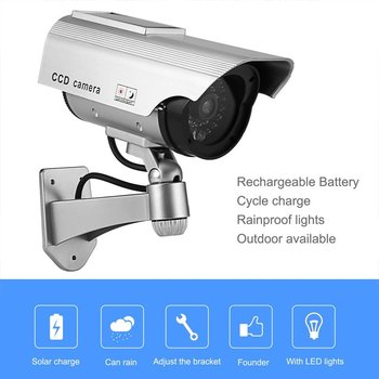 New Fake Camera Solar Power Outdoor Simulation Dummy Camera Waterproof Security CCTV Surveillance Bullet With Flashing LED Light