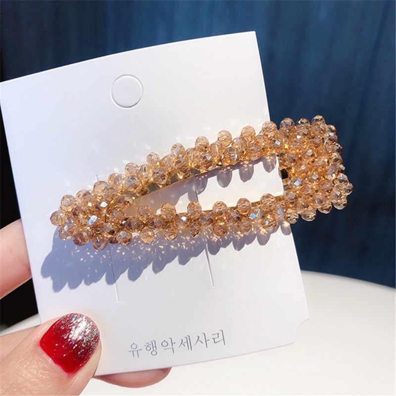 2019 Fashion Crystal Pearl Hairpin Barrettes Hairgrip Geometricr Red Color Hair Clip Metal Hair Accessories For Women