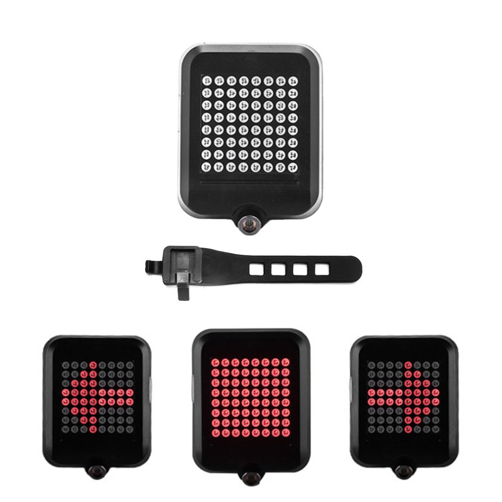 64 LED Laser Bike Turn Signals Light USB Rechargeable Safety Warning Light Intelligent Bicycle Rear Tail Light Hot Sale beginagain smart bike wireless laser rear light bicycle remote control turn light safety led warning tail light usb charge