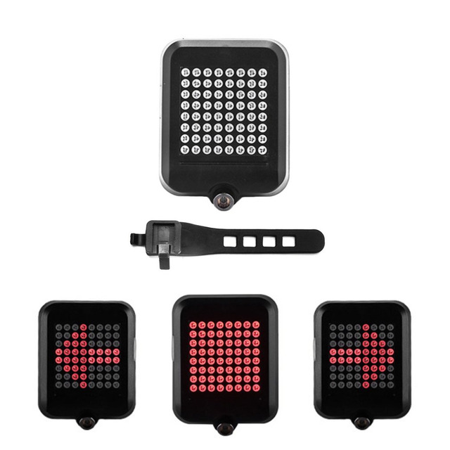 OUTAD 64 LED Laser Bike Turn Signals Light USB Rechargeable Safety Warning