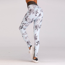 Women New Flower Print Hip Yoga Pants Sports Fitness Sexy Hips Leggings