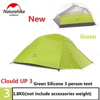 DHL free shipping NatureHike tent 1.8kg 3 Person 20D Silicone Fabric Double layer Camping Tents Outdoor Tent