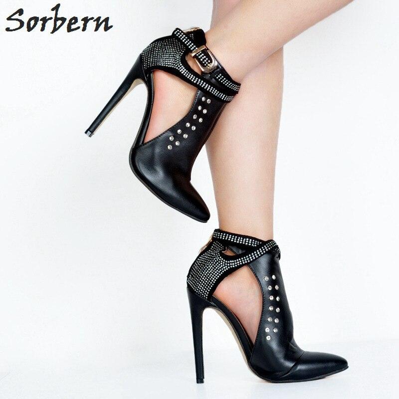 Sorbern Для женщин сапоги 2017 Ботильоны для женский, черный Pu Высокий каблук; женская обувь Botas mujer женские вечерние туфли Дамская обувь