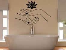 Girls Beauty Salon Wall Decal Lotus Flower Hands Pattern Vinyl Stickers Bathroom Interior Removable Home Namaste DIY SYY700