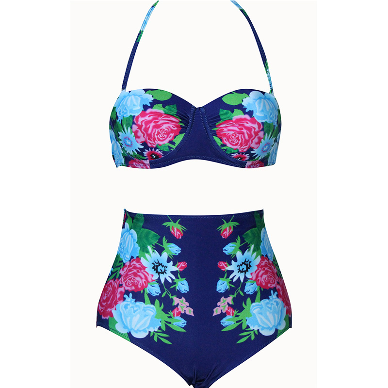 Vintage Retro Sexy Thong High Waist Swimsuit Brazilian Bikini Set Swimwear Bathing Suit Women Beach Cover Biquini 2017 Tankini