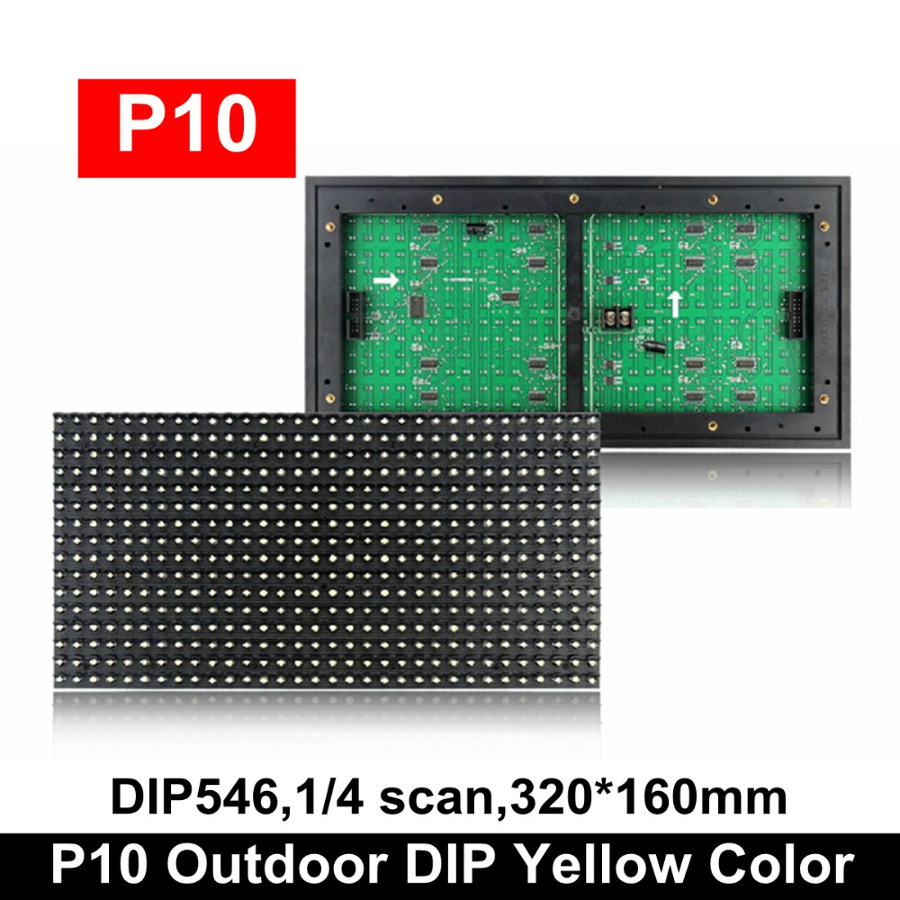 2019 Hot Sale P10 Outdoor Yellow Color Led Display Module, Single Amber Led Scrolling Message Panel 320x160mm 1/4 Scan Hub12