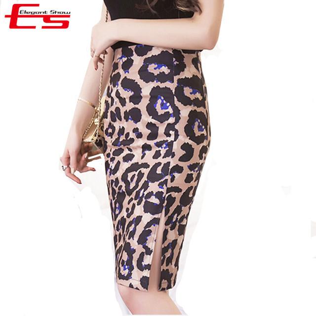 3xl 4xl más tamaño verano 2017 vintage midi falda de la mujer estampado de Leopardo Falda Lápiz Saia Bodycon Señoras de La Alta Cintura Midi Femme
