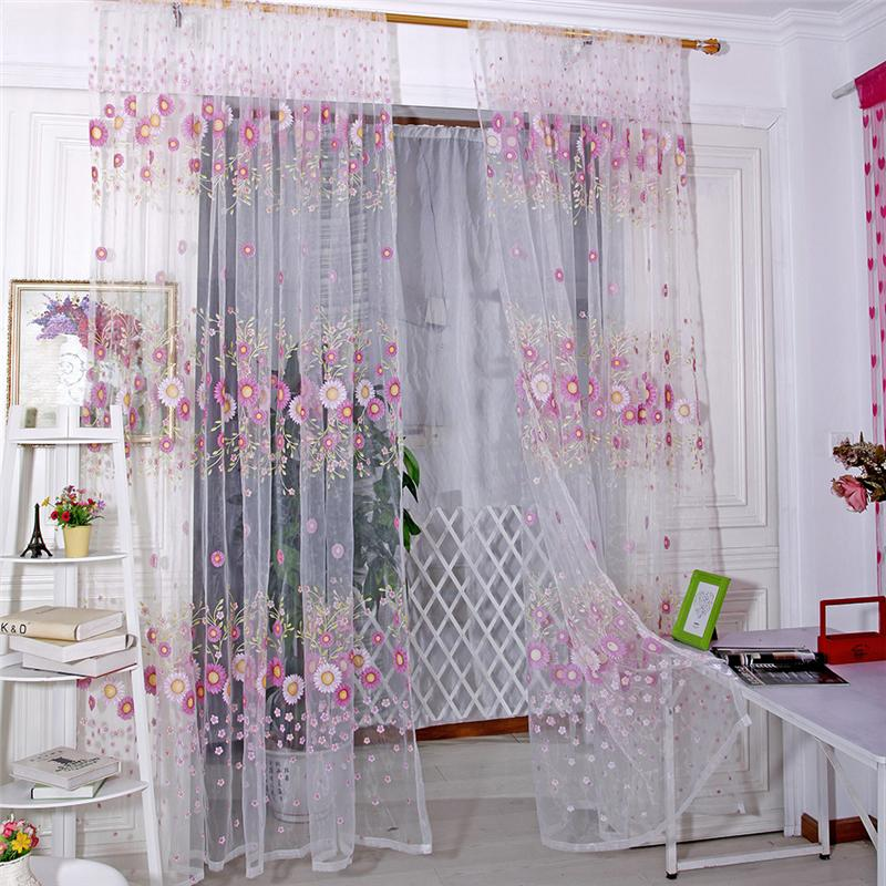 Sunflower Tulle Voile Window Curtain Drape Panel Sheer Scarf Valance Curtains For Living Room In