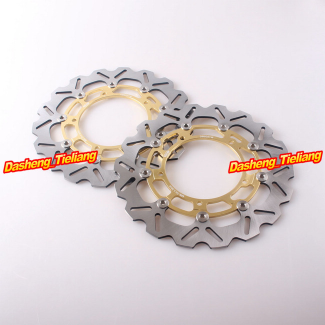 Brand Front Brake Disc Rotors For Yamaha 2007-2011 YZF R1 & 2005-2012 YZF R6 & FAZER 8 FZ8 2010-2011 Gold Stainless Steel brand front brake disc rotors for yamaha 2007 2011 yzf r1