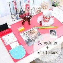 بساط مكتب مطاطي بلون الحلوى لطيف كاواي متعدد الوظائف مخطط أسبوعي منظم كبير للمكتب تخزين الطاولة بساط بساط تعليمي