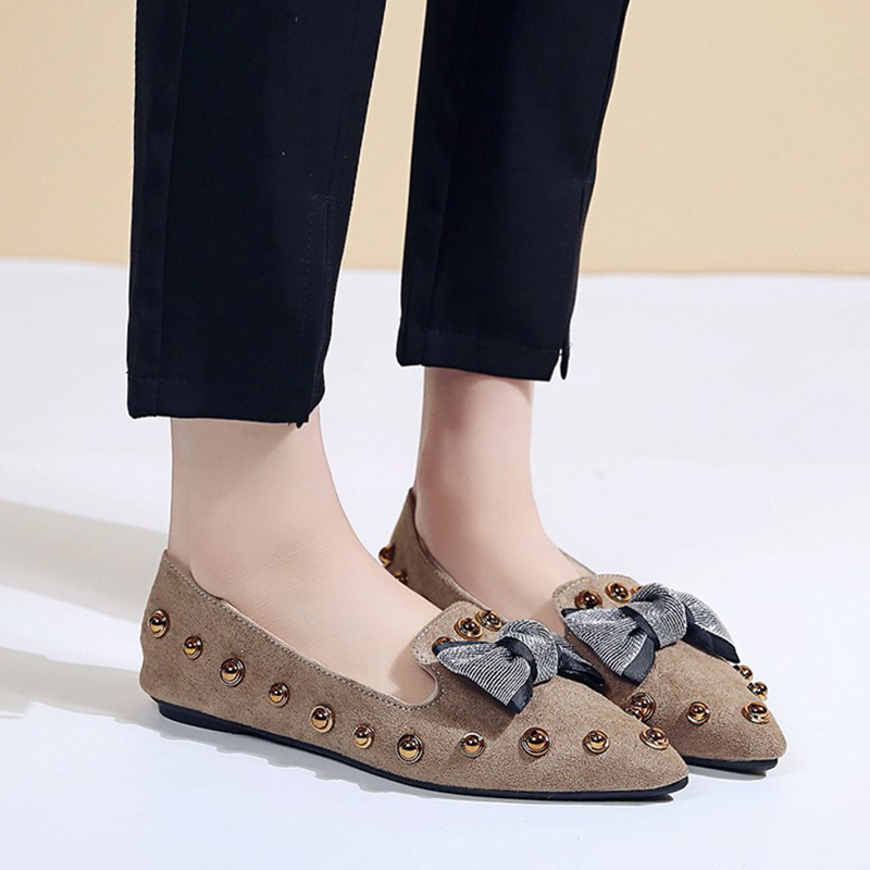 Spring Women Flats Bowtie Slip on Flat Shoes Rivets Boat Shoes Woman Casual Shoes sneaker Ladies Shoes zapatos mujer loafer 7080 2