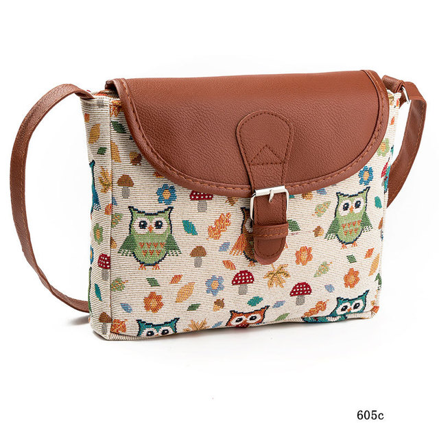 Women Messenger Bags Canvas Owl Animal Printed Crossbody Shoulder Bag Small Ladies Handbags Flap Bag For Girls High Quality 1