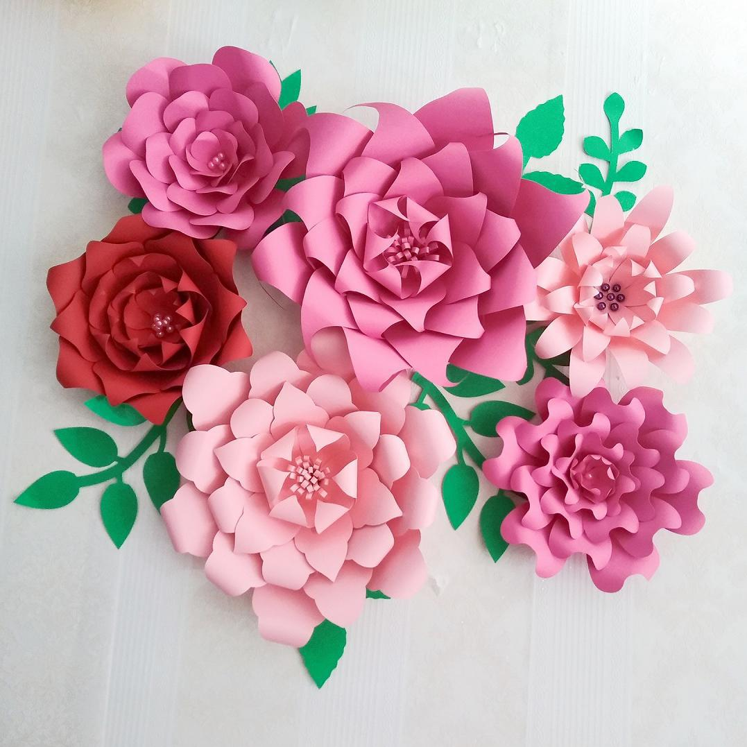 2018 Half Made Giant Paper Flowers 6PCS + Leaves 7PCS