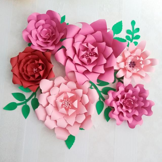 2018 half made giant paper flowers 6pcs leaves 7pcs large flower wedding backdrop baby nursery