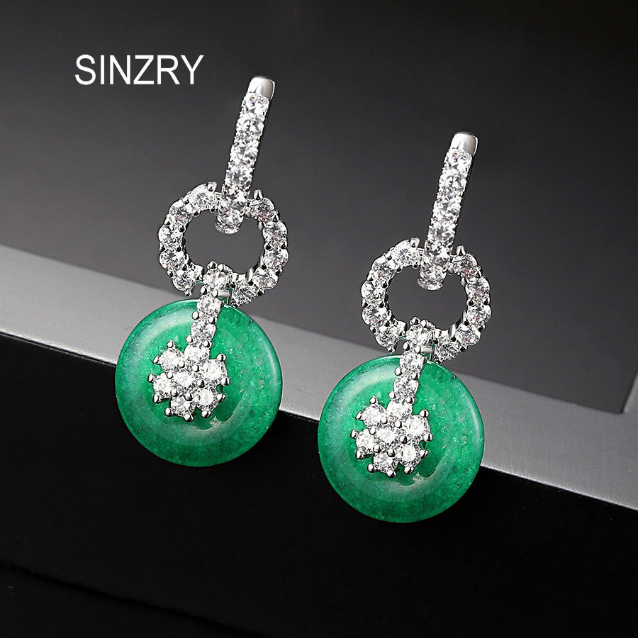 все цены на SINZRY Brand Elegant Jewelry Imitation Green stone Circle Drop Earrings For Women Party wedding Jewelry Accessories онлайн