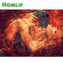 "HOMLIF 5d diy Diamond painting""Abstract lover kiss""paint with diamond picture embroidery full square drill mosaic rhinestone Art(China)"