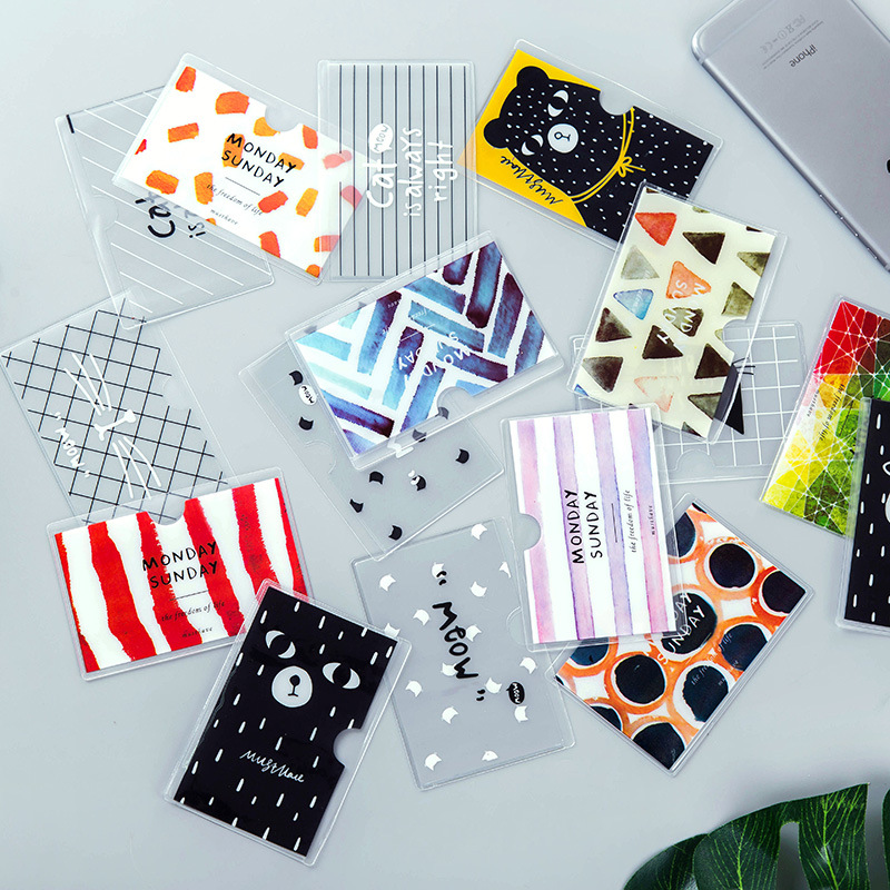 Girls Cartoon Animal Pattern Card Holder translucent plastic card sets holders students school bus cards protection case cover hooray let s play b card sets flashcards story cards