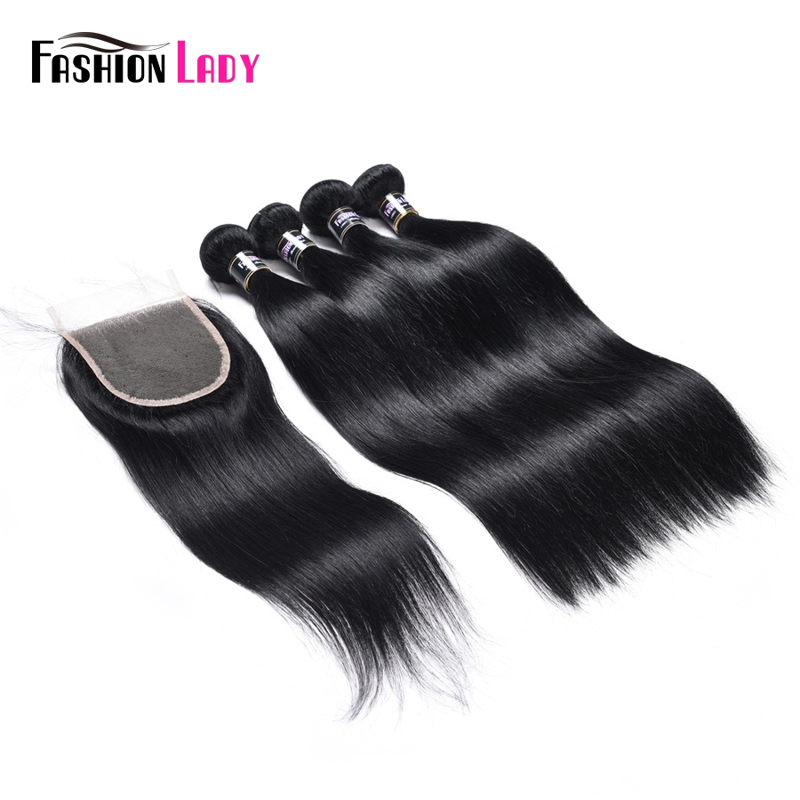 Fashion Lady Pre-Colored Malaysian Human Hair Bundles 4 Bundles With Lace Closure 1# Jet Black Free Part Straight Non-Remy Hair
