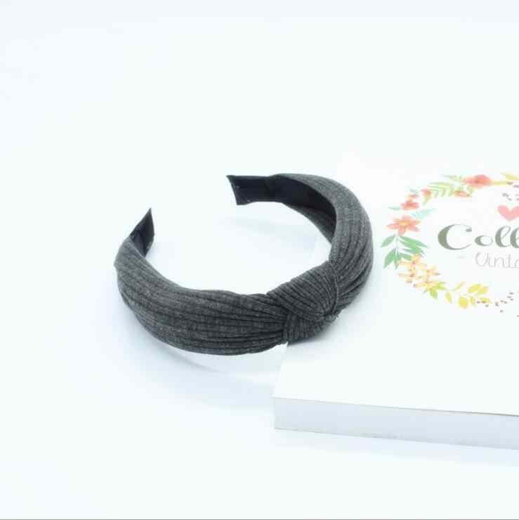 Knot Cross Tie Solid 1 PC Fashion Hair Band Hairband Knitted rib Girls Bow Hoop Hair Accessories Velvet Twist Headband