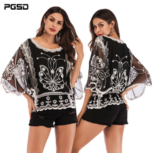 PGSD 2019 Summer Fashion women clothes Three Quarter Sleeve loose O-neck Embroidered hollow lace T-shirt Pullover female embroidered pullover t shirt
