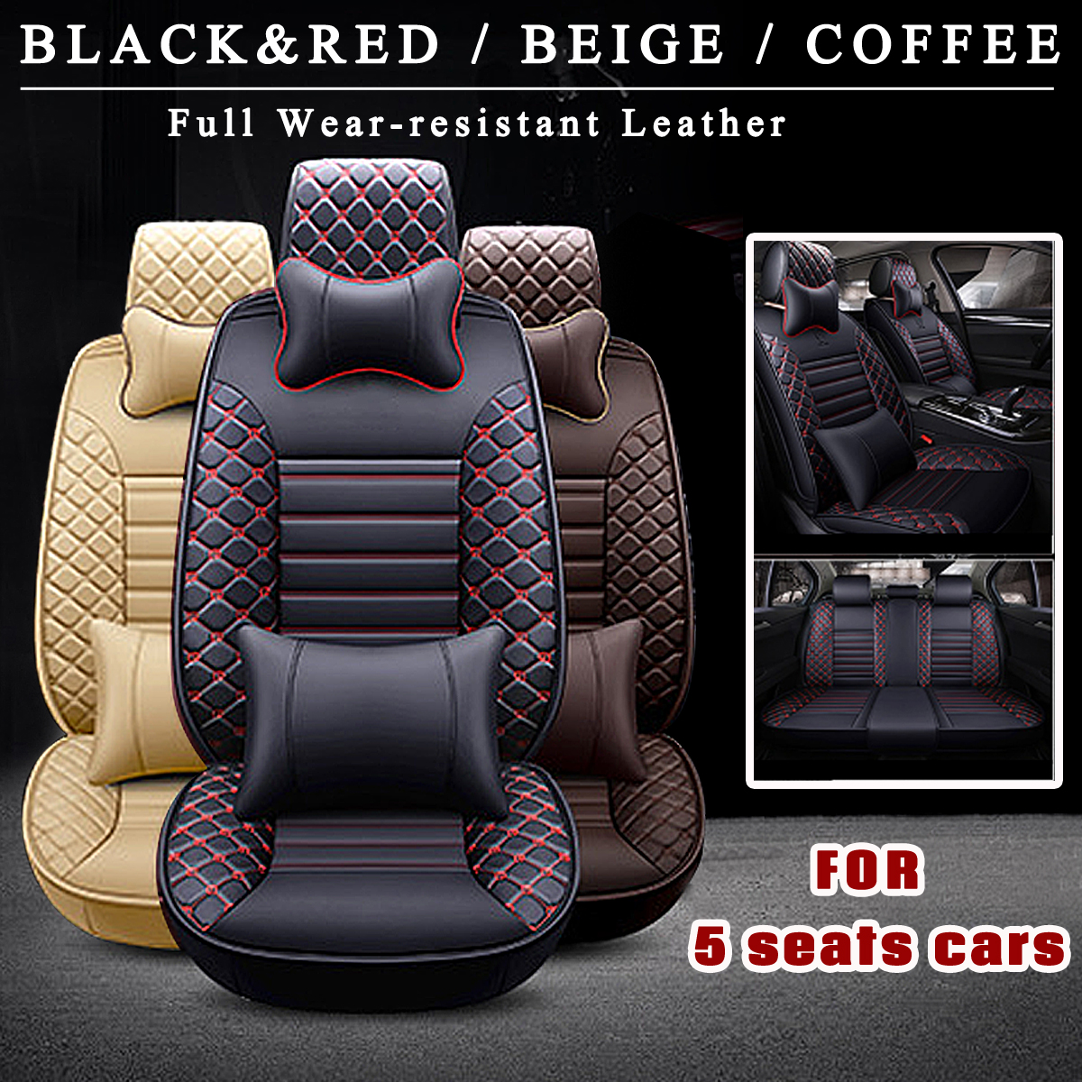 цена на Autoleader 9Pcs For 5 Seat Universal Auto Car Seat Covers Front Rear Head Rests Full Set Protector Four Seasons PU Leather Decor