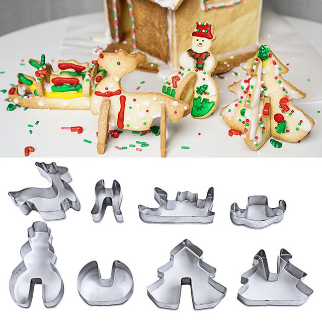 8PCS/Set Christmas Biscuit Mould Merry Christmas Cookie Mold Cake Mold Fondant Cutter Cookie Tools Birthday Party Decoration