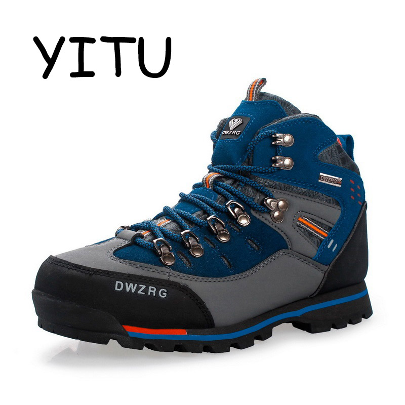 YITU Mens Hiking Boots Waterproof Mountain Trekking Shoes Breathable Hiking shoes Leather Outdoor Sports Sneaker Hunting Shoes-in Hiking Shoes from Sports & Entertainment    1