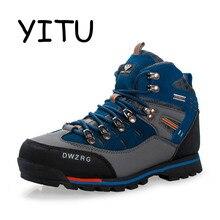 YITU мужские походные ботинки водонепроницаемые горные дышащие ботинки для треккинга походная обувь кожаные уличные спортивные кроссовки обувь для охоты
