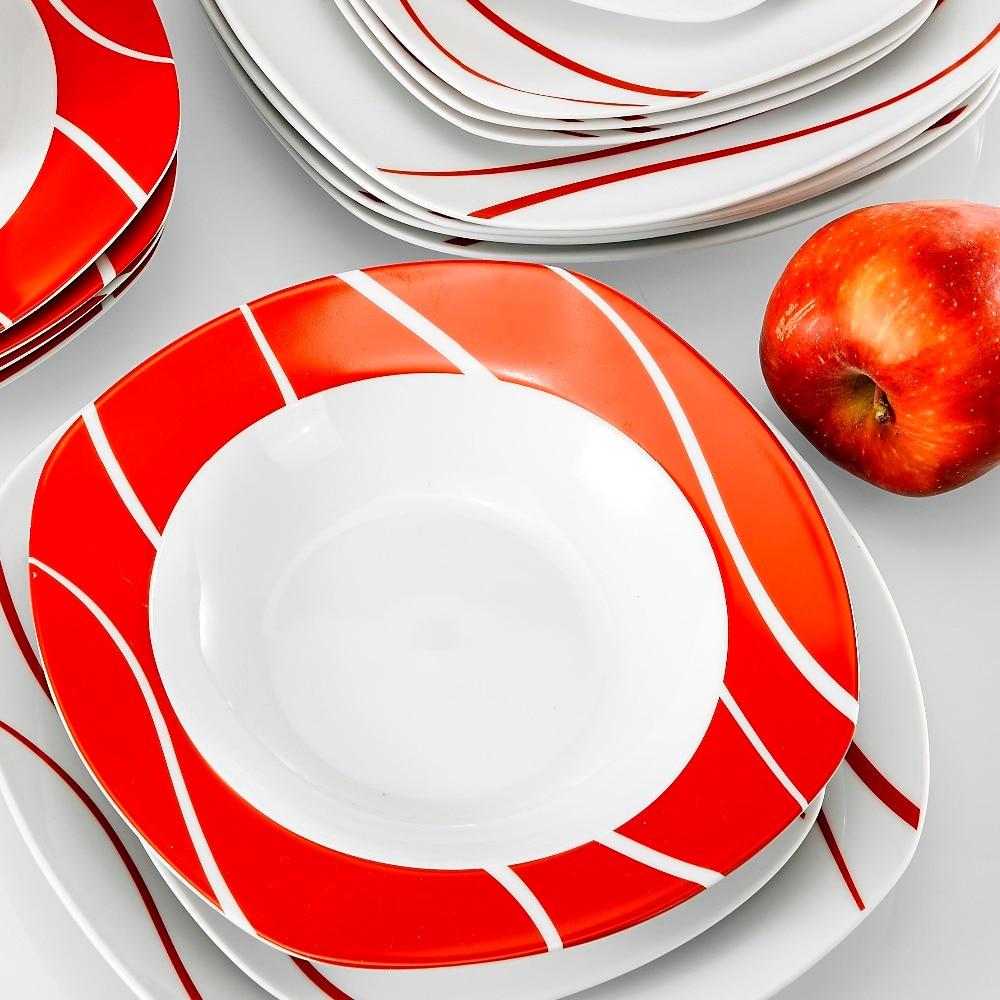 Serie Felisa 6 Piatti da Dessert 6 Piatti Fondi Servizio per la Tavola in Porcellana MALACASA 30 Pezzi con 6 Tazze 6 Piattini 6 Piatti Piani per 6 Persone Set da caff/è