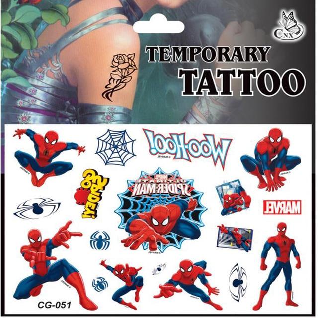 5 Pcs Brinquedo Bonito Spiderman Crianças Dos Desenhos Animados Etiqueta Tatuagens Temporárias Moda Estilo Verão Meninas Crianças Meninos À Prova D' Água