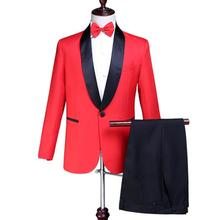 Blazer men groom suit set with pants mens wedding suits costume singer star style dance stage clothing formal dress red jacket pants red man s suit groom dress singer master of ceremonies host stage show serve clothing mens suits wedding